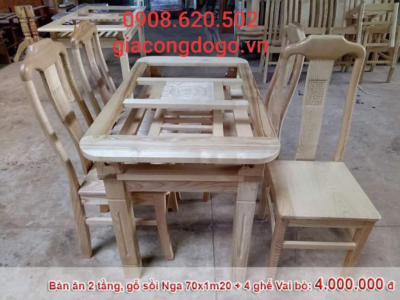 bàn ăn ovan 2 tầng 6 ghế gỗ sồi tự nhiên
