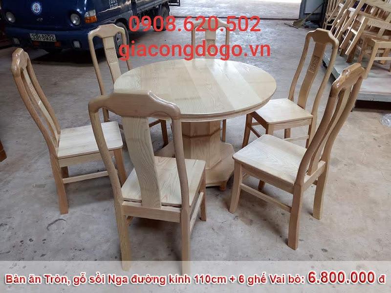 bàn ăn tròn 6 ghế gỗ sồi tự nhiên