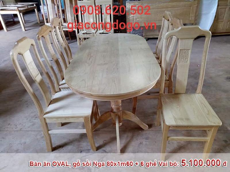 bàn ăn ovan mặt liền 6 ghế gỗ sồi tự nhiên