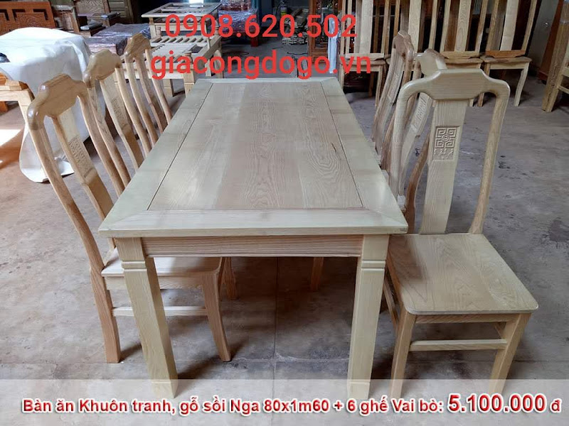 bàn ăn chữ nhật mặt liền 6 ghế gỗ sồi tự nhiên