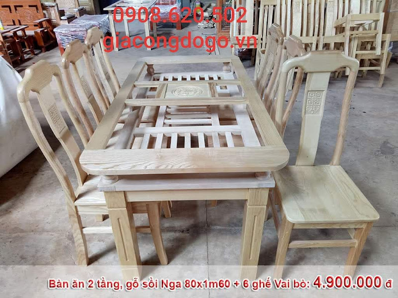 bàn ăn chữ nhật 2 tầng 6 ghế gỗ sồi tự nhiên