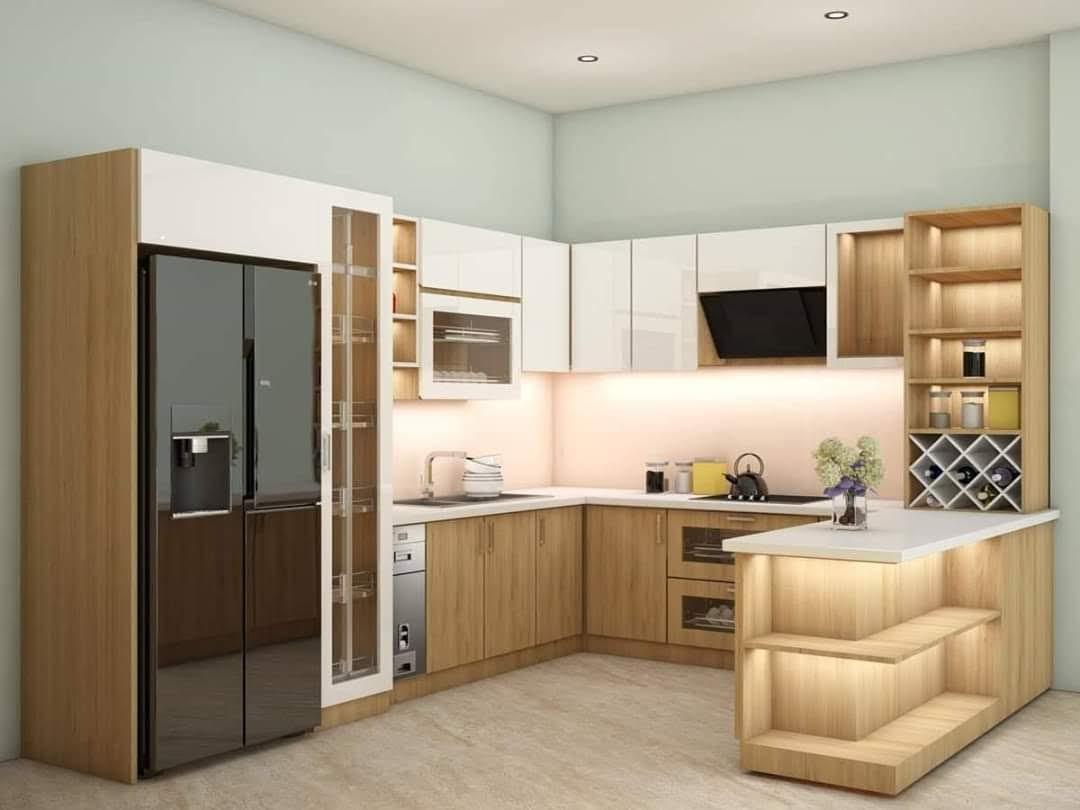 Tủ bếp gỗ công nghiệp MDF phủ Melamine