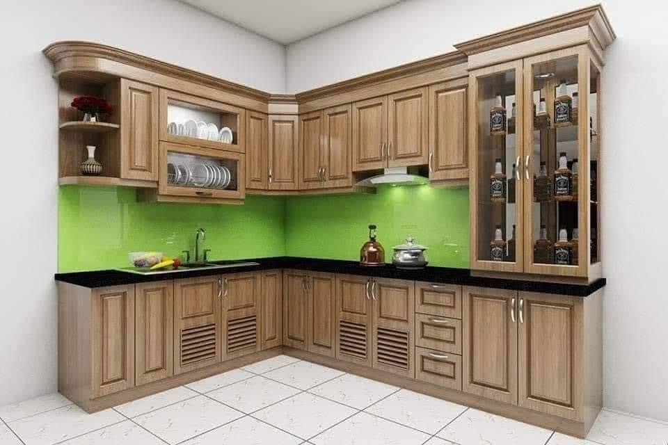 Tủ bếp kết hợp tủ rượu