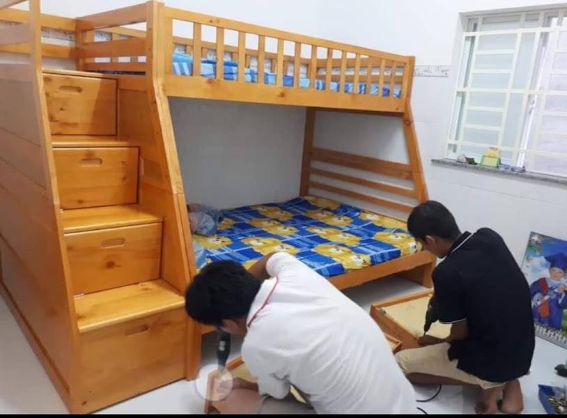 giường tằng cầu thang liền ngăn kéo