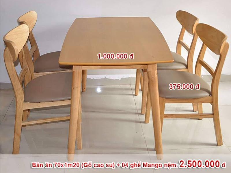 bộ bàn 4 ghế mango