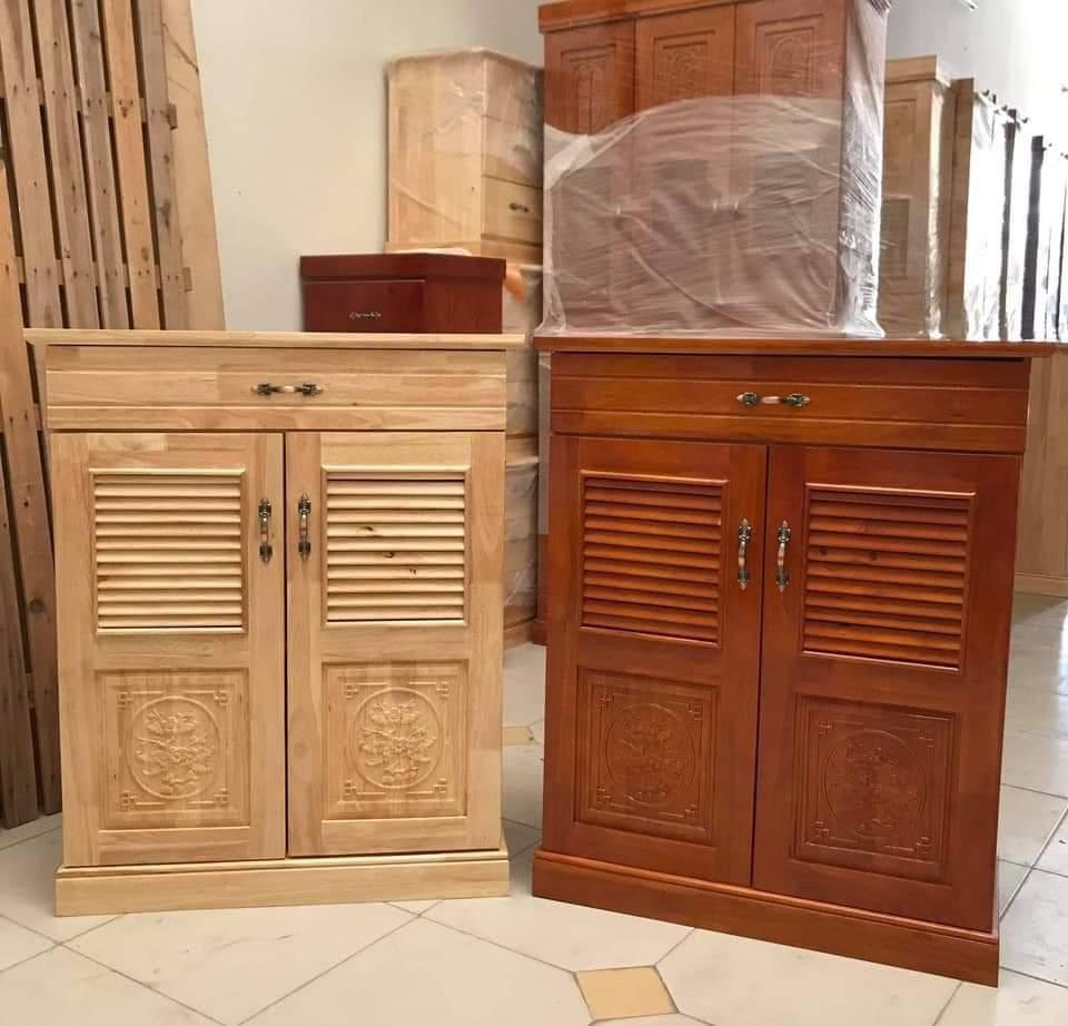 tủ giày dép gỗ cao su 2 loại màu