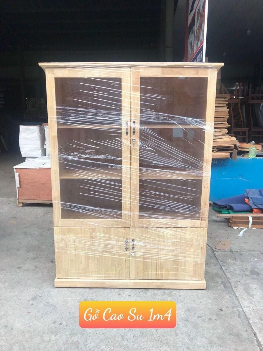 tủ hồ sơ gỗ cao su 1m4