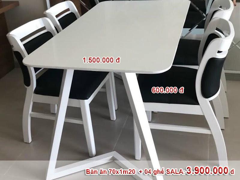 bộ bàn 4 ghế sala màu trắng