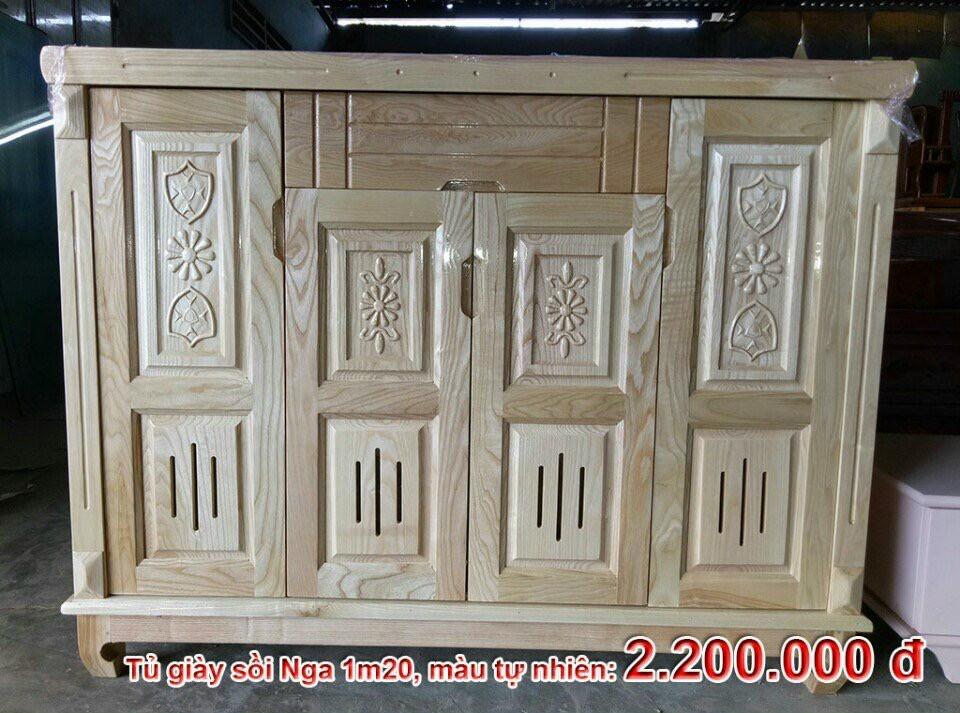 tủ giày gỗ sồi sơn màu tự nhiên