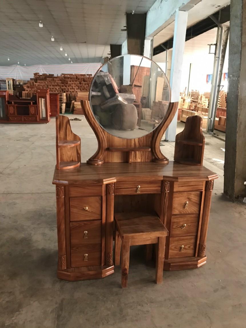 bàn trang điểm gỗ hương xám mẫu gương tròn