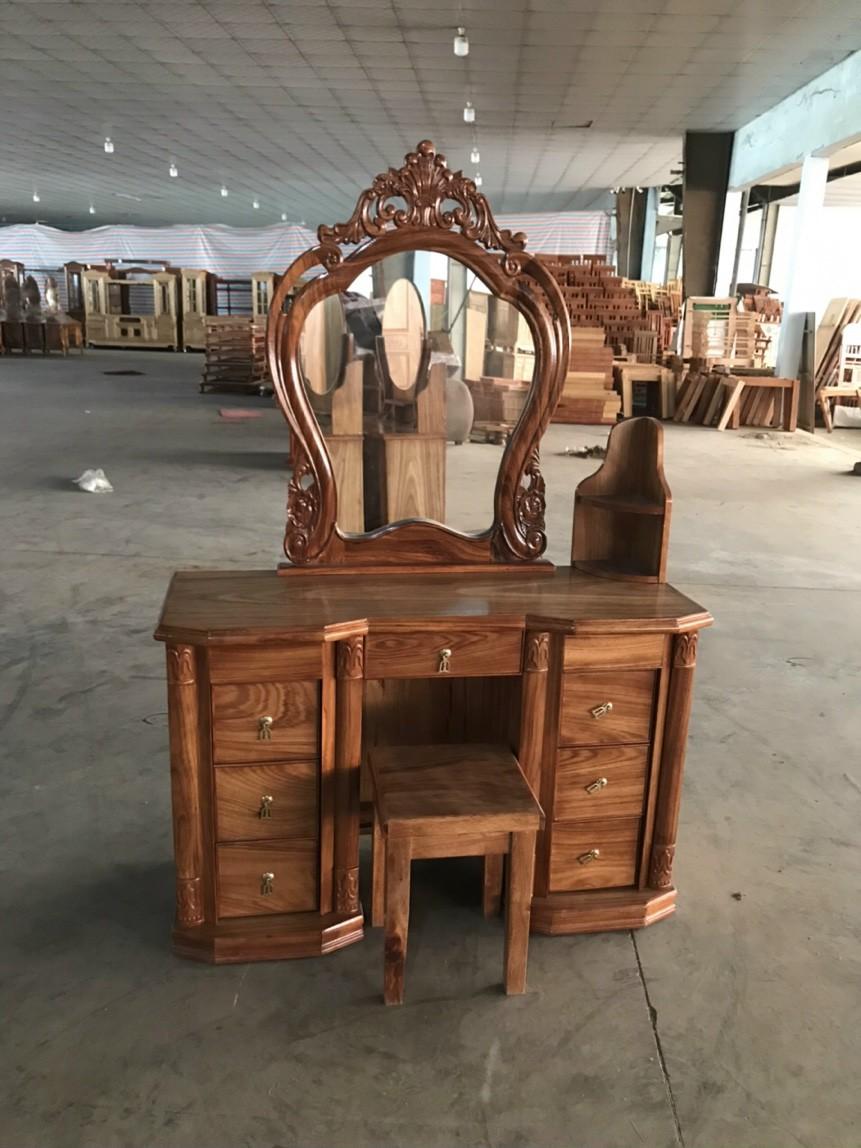 bàn trang điểm gỗ hương xám mẫu gương quạt