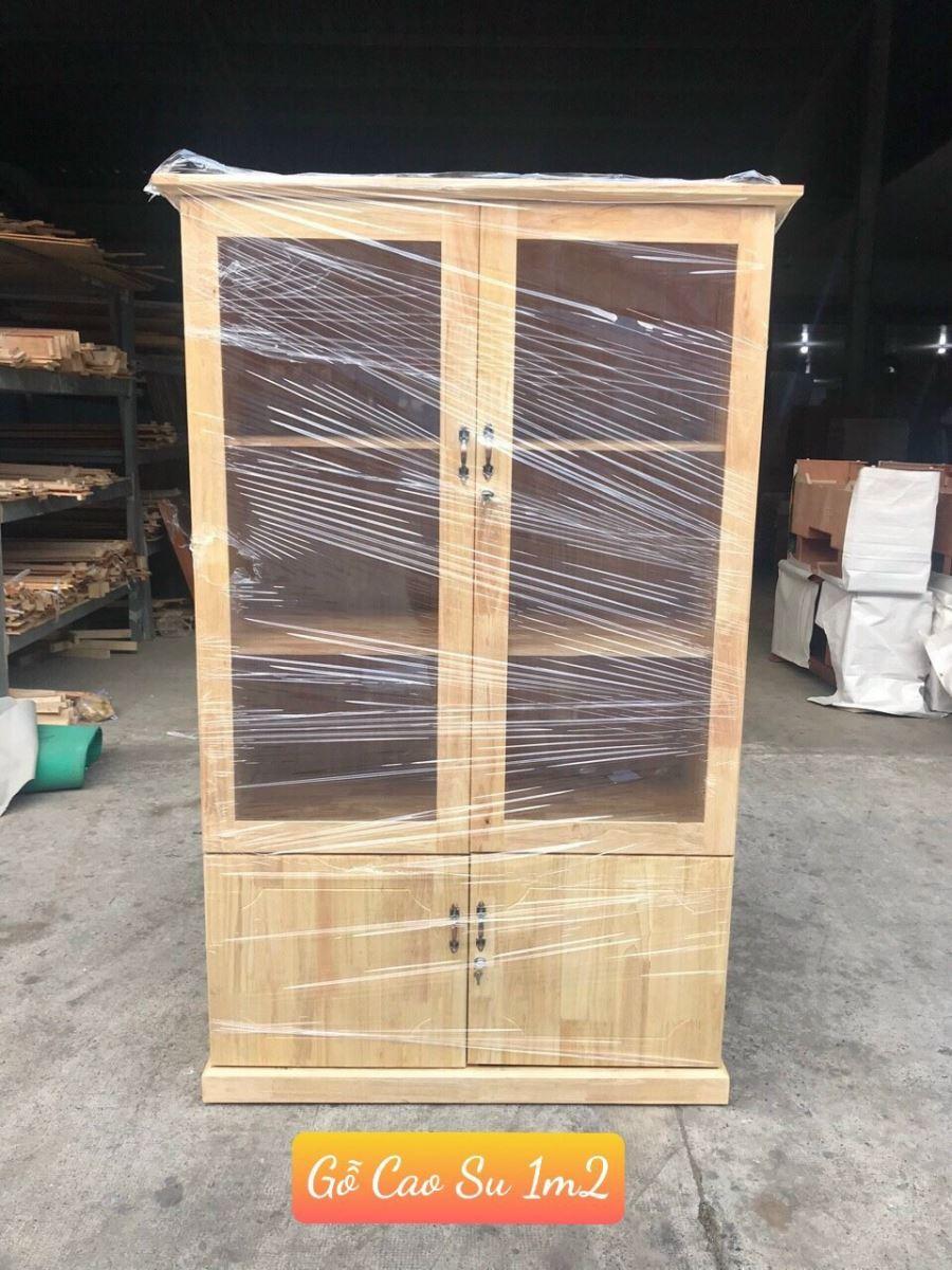tủ hồ sơ gỗ cao su 1m2